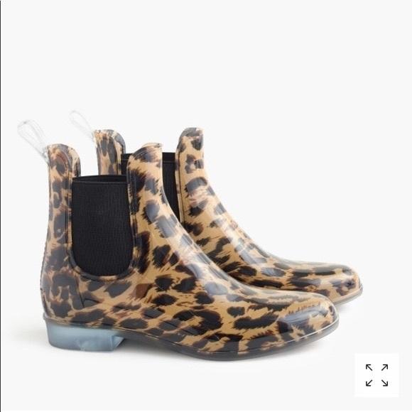 J. Crew Shoes - J. Crew Chelsea leopard rain boots size 9